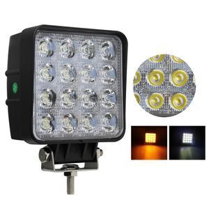 Vehicle Auto Light  in Stock Dual Color Mini 5Inch Truck Square 72W Car Off Road Amber Led Work Light